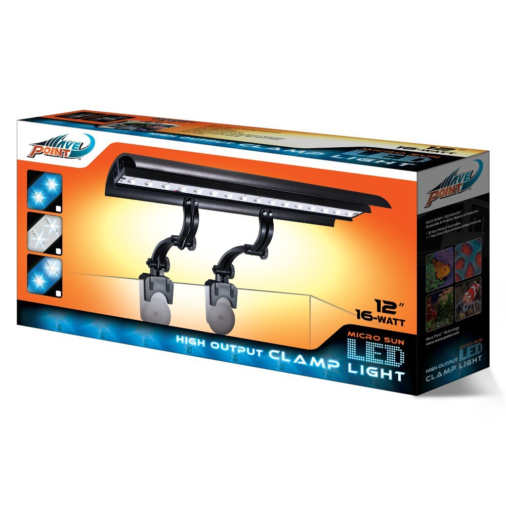 "Wavepoint T5 48 High Output T5 Aquarium Lighting Fixture: WAVE POINT 12"" 6W/16W CLAMP CLIP ON AQUARIUM LED FISH TANK"